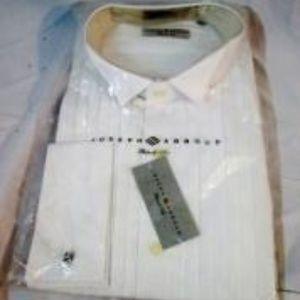 NEW JOSEPH ABBOUD Pleat Tuxedo French Cuff Shirt